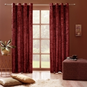 Curtains Crushed Velvet Thermal Insulated, Room Darkening Eyelet Curtains (2 Panels)