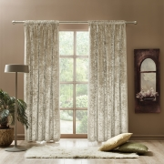 Curtains Crushed Velvet Thermal Insulated, Room Darkening Pencil Pleat Curtains (2 Panels)