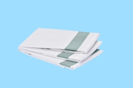 "Poly-Cotton Pillow Cases White with Green Stripe 50 x 76 cm (20 x 30"") - to fit standard size pillows with flap"